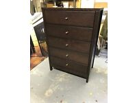 2 x Bedside cabinets, matching tall chest of drawers and wall mirror set in dark wood