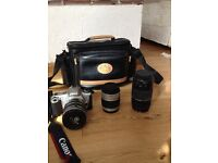 Canon EOS 300 with 3 lenses and a bag