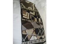 Scarf, 100% Silk Art Deco Graphic- Measures: 30cm x 132cm, Black, White, Grey, Cacao