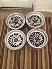 Very Rare BMW e12 Mahle alloy wheels with caps 7jx14