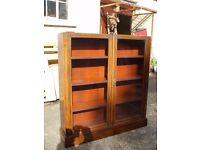 antique bookcase, fronted glazed display china cabinet, book shelves, mahogany vitrine, c. 1930