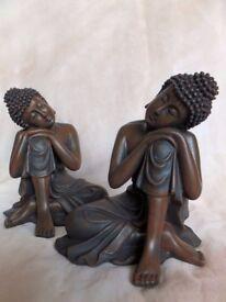 New Set Of 2 Dark Wood Effect Meditating Thai Buddha Figurines