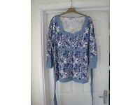 Store Twenty One Top Size 20 New - no tag. Cost £9.99 Blue & lilac abstract pattern on white.