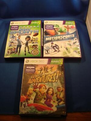 Lot of 3 Xbox 360 Kinect Games Adventures, Sports Season Two, Motion Sports COOL (Coole Xbox 360)