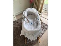 Beautiful white Moses basket and Rocking Stand