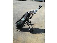 Full set of Hippo clubs with bag and trolley