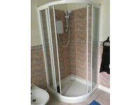 Bathroom suite to include: shower, toilet, sink and bidet