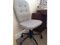 Ikea Office Chair, Retro Grey White Checked Pattern £10