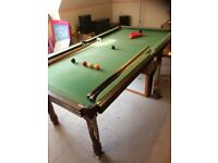 Snooker table, 7ft x 4ft, slate bed