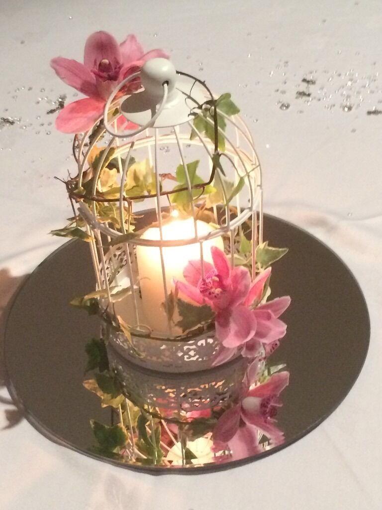 Shabby chic cream birdcage lantern mirror plates