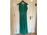 Turquoise long pleated evening dress