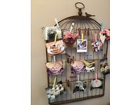 Photograph/ peg board display wall hanging. Decorative bird cage, Shabby chic, vintage .