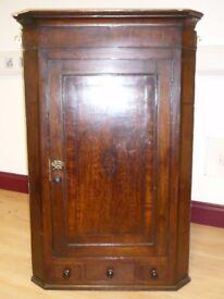 Antique oak corner wall cupboard