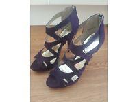 Size 5 Purple 5 Inch Platform Stiletto Heeled Sandals
