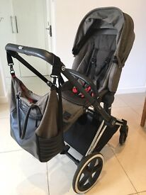 Cybex pushchair & baby seat complete with rain cover, matching changing bag,