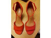 Next orange suede shoes & suede clutch bag £20