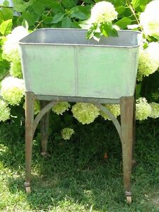 Wash Tub On Stand : Details about Vintage Galvanized Laundry Wash Tub Stand Cart VOSS ...