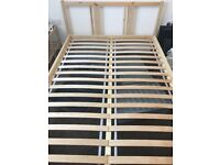 Ikea double wooden bed frame AND slats