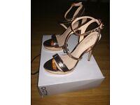 Aldo rose gold strappy sandals, size 4