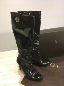 Gucci ladies long black patent boots. Size 40