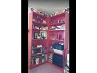 2 large red BILLY BOOKCASES with 5 shelves