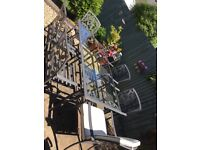 SOLD Homebase Lucca 6 seater garden table and chairs with seat pads