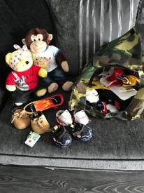 Build a bear x 2 with accessories. Skateboard, mobile phone shoes outfits , a tent ect