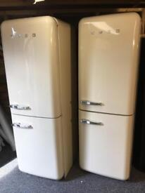 LOVELY CREAM SMEG FAB32 FRIDGE FREEZERS. 6 MNTH WARRANTY. CAN DELIVER/VIEW
