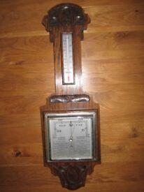 vintage antique retro barometer oak case very original condition