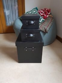 Black faux leather stacking storage boxes