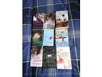 9 books: romantic novels, titles listed within ad