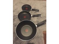 Tefal wok and x2 frying pans