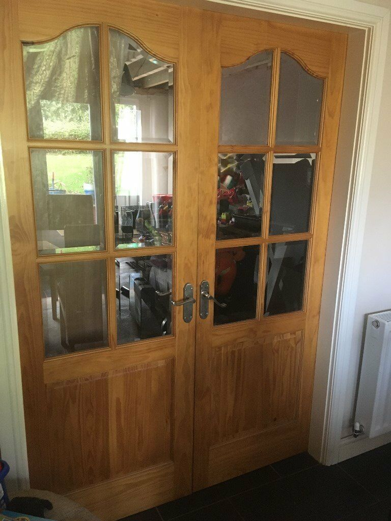 PAIR OF PINE HALF GLAZED DOORS INTERNAL