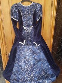 Beautiful velvet princess/queen dress up dress and fur trim hooded cloak