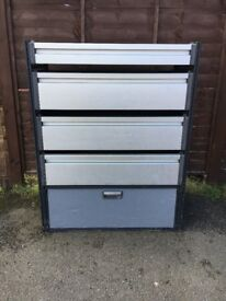 Van Racking / Shelving - MODUL / TEVO - 4 Shelves / 1 Cupboard - Good Condition - Heavy Duty