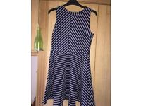 Girls M&S Dress - Age 12-13 - Navy with White Stripes Worn Once