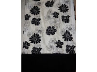 Pair of Long Black & White / Light cream floral curtains velvet style bottom! 224cm long 220cm wide