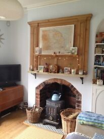 Reclaimed victorian Pine fireplace overmantle