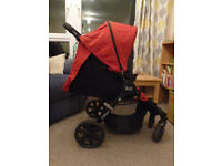 Britax complete travel system: B-Agile Buggy + Hard Carrycot + Car Seat + Isofix Base - red & black