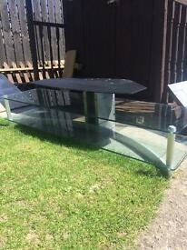 Glass and metal tv cabinet.