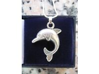 Vintage Silver Dolphin Necklace in excellent condition with modern chain c1960's - Excellent