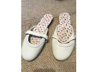 Shoes white flat summer shoes size 6