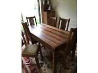 JOHN LEWIS MAHARANI 6 SEATER DINING ROOM TABLE AND 6 CHAIRS