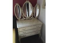 Vintage dressing table / french draws with mirror