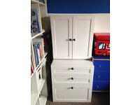 Children's white IKEA furniture drawers and cupboard