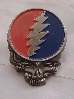 GRATEFUL DEAD   PEWTER SKULL AND LIGHTNING BOLT  CLOISSONE PIN 1980'S - Pewter Bolt