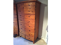 Reclaimed pine wardrobe with 4 drawers, curved front, 2 available, splits into two parts