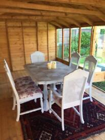 Shabby Chic table and 6 chairs.