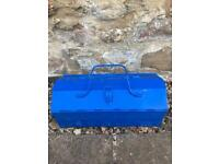 Blue small metal tool box