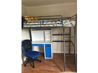 Kids cabin bed with mattress. Computer desk with chair. All good condition.